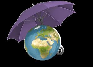 pasaule ar lietussargu